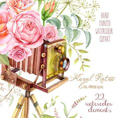 Watercolor Floral Retro Photo Camera. Vintage by ReachDreams
