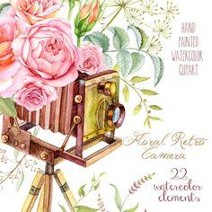 Watercolor Floral Retro Photo Camera. Vintage by ReachDreams