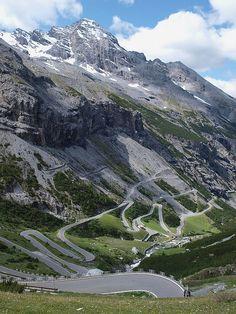 Going down to Bormio in Passo dello Stelvio, the second highest mountain pass in the Alps at 2757m, Italia