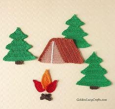 Ravelry: Camping Applique pattern by GoldenLucyCrafts All Free Crochet, Knit Or Crochet, Crochet Motif, Crochet Appliques, Crochet Wall Art, Crochet Tree, Applique Patterns, Knitting Patterns, Crochet Patterns