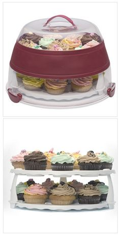 Collapsable Cake/Cupcake Carrier and Stand