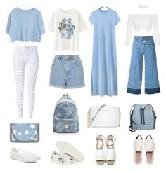 """""""The squad's day out"""" by fyustiazari on Polyvore featuring Uniqlo, TOMS, Comptoir Des Cotonniers, Miu Miu, Closed, STELLA McCARTNEY, WithChic, Michael Kors, INC International Concepts and Topshop"""