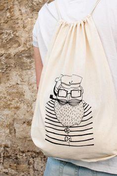 "Turnbeutel ""Matrose"", Jutebeutel // tote bag ""sailor"", hipster style by HerrPfeffer via DaWanda.com"
