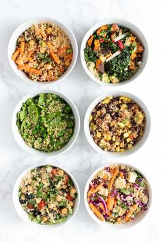 Here are 6 easy recipes for healthy quinoa bowls! These make delicious vegan, gluten-free lunch or dinner ideas. They're also great for meal prep too! Recipes vegetarian Healthy Quinoa Bowls: 6 Delicious Ways - Simply Quinoa Quinoa Salad Recipes, Veggie Recipes, Whole Food Recipes, Vegetarian Recipes, Easy Recipes, Healthy Recipes, Avocado Recipes, Veggie Food, Healthy Meal Prep