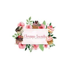 Explore over logo templates including badges, icons, and other elements for creating unique, feminine, and modern logos. Cake Logo Design, Custom Logo Design, Watercolor Logo, Watercolor Flowers, Business Logo, Business Design, Logos Vintage, Baking Logo, Cupcake Logo