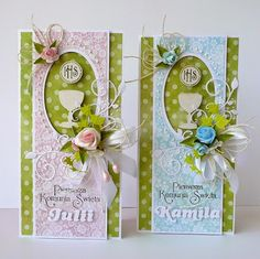 First Communion Cards, First Holy Communion, Origami, Christmas Journal, Christian Cards, Baptism Favors, Cute Cards, Quilling, Card Making