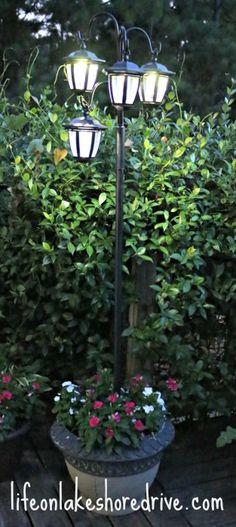 DIY Solar Light Lamp Post with Flower Planter   Life on Lakeshore Drive