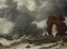 Mer orageuse avec un naufrage by Bonaventura Peeters the Elder