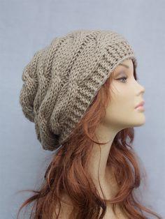Slouchy beanie beanies wool knit beanie Chunky knit beanie beanie Beige  slouchy beanie slouchy knit hat