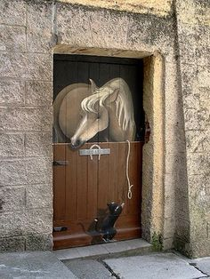 "Valloria ""Horse in stall with rope and kitten"" door Cool Doors, Unique Doors, Knobs And Knockers, Door Knobs, Entrance Doors, Doorway, Front Doors, When One Door Closes, Door Gate"