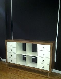 IKEA Hackers: Updated Expedit Dresser. Love the wood grain with white.