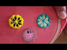Hand Embroidery Beautiful New Mirror Work flower stitch : Different Styles mirror - YouTube
