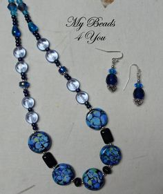 Beaded Necklace Beaded Earrings Beaded Jewelry Gift by mybeads4you, $30.00