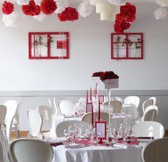 Décoration salle : rouge et blanc