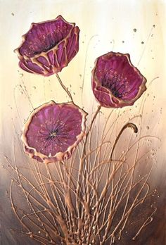 Buy Burgundy Poppy Flowers, Acrylic painting by Amanda Dagg on Artfinder. Discover thousands of other original paintings, prints, sculptures and photography from independent artists. Texture Painting On Canvas, Glue Painting, Canvas Art, Folk Art Flowers, Flower Art, Hot Glue Art, Burgundy Paint, Abstract Face Art, Gold Leaf Art