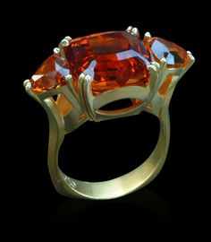 "cynthia renee, full custom ""heaven and earth"" ring in bloomed gold with spessartite trio by cynthia renee, inc."