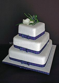 Purple tartan wedding cake