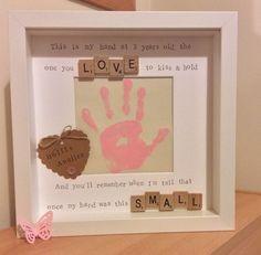 Handmade scrabble tile frame, Mother's Day gift, child handprint poem in Home, Furniture & DIY, Home Decor, Photo & Picture Frames   eBay!