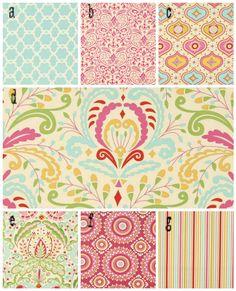 3 Piece Custom Crib Bedding, fabrics are your choice, Kumari by Free Spirit  Lolas Lovies handmade baby bedding