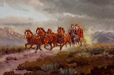 """Western Artist: Ron Stewart, """"Stage Coach"""", Oil Painting, Signed Lower Left Hand Corner, #749 by CulturalPatina on Etsy"""