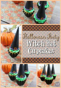 Halloween party witch hat cupcakes as well as some more Halloween party goodies. Halloween Desserts, Halloween Cupcakes, Halloween Candy, Scary Halloween, Halloween Goodies, Happy Halloween, Recipe For Teens, Recipe Cover, Yummy Cupcakes