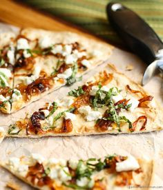Flatbread with Goat Cheese and Caramelized Onions ~ http://www.garnishwithlemon.com