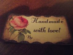 Labels  With  the  Words  Handmade  With  Love by mslizz on Etsy, $5.00