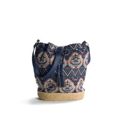 Kelly & Katie Printed Straw Drawstring Shoulder Bag - Blue ($30) ❤ liked on Polyvore