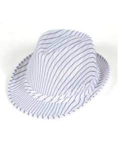 Roaring 20s Gangster Costume White Pin Stripe Fedora Hat Gangster Costumes 9884f1e402d2