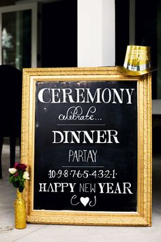New Year's Eve Wedding sign, hand painted wedding sign, flower wedding decor idea New Years Wedding, New Years Eve Weddings, Wedding News, Wedding Dj, Gold Wedding, Wedding Flowers, Dream Wedding, Wedding Country, Wedding Shot