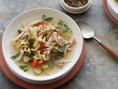 Slow-Cooker Chicken Noodle Soup : This slow-cooker version of the classic soup is super-easy to make. Chicken thighs are best here, as they're less expensive than breasts and tend to not dry out. If you like, skip the noodles and stir in your favorite cooked grain at the end.