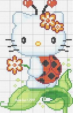 Cute Hello Kitty Hama Perler Bead Pattern or Cross Stitch Chart