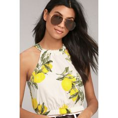 Moon River In the Grove White Lemon Print Crop Top ($57) ❤ liked on Polyvore featuring tops, white, white sleeveless top, halter crop tops, tie halter top, white tops and sleeveless crop top