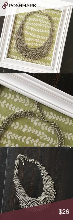"""{cara ny} chain mail necklace ✨chainmail statement necklace by Cara NY ✨  ➳ preloved, very good condition. necklace does have a minor metallic odor which is to be expected.  ➳ I do not know the type of metal that this necklace is made of, so be cautious if you have allergies to metal jewelry.   ☞ approx measurements 21"""" long laying flat, adjustable   ❥ no trades ❥ please check photos & ask all questions prior to purchase cara ny Jewelry Necklaces"""