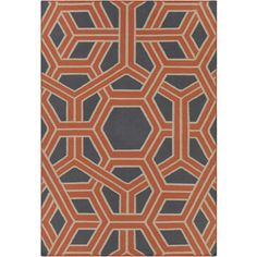 Thomaspaul Collection Flatweave Area Rug in Orange, Grey, & White... ($338) ❤ liked on Polyvore featuring home, rugs, orange area rug, gray wool rug, gray rug, wool rugs and grey area rug