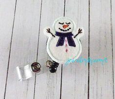 Snowman Feltie Retractable Badge Reel, Felt Badge Reel, ID Badge Reel Holder, Name Badge Holder, Lanyard, Teachers Badge Holder Reel - pinned by pin4etsy.com