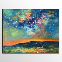 Abstract Art, Starry Night Sky Painting, Landscape Art, Wall Art, Original Artwork, Oil Painting