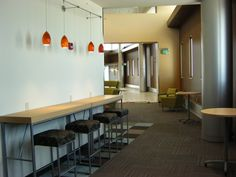 Library commons seating. Area is right outside the library.