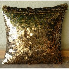 Gold Throw Pillows Cover 16x16 Silk Pillow by TheHomeCentric