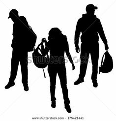 Vector silhouette of people who have a backpack. - stock vector