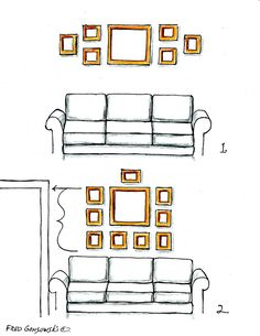 Must-see illustrations and great suggestions for hanging picture frames over the sofa, couch, furniture!