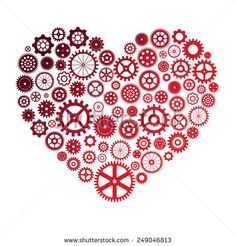 illustration of heart made of colorful cogwheels