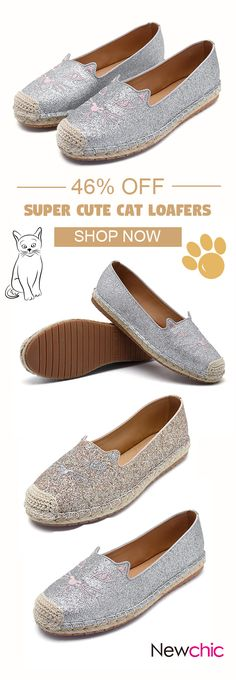 US$31.30 Bling Cat Cute Flat Loafers