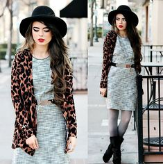 Hat(Similar), Cardigan, Necklace, Cross Bracelet, H Tweed Dress With Belt, Ombre Tights, Boots, Revlon Definitely Red
