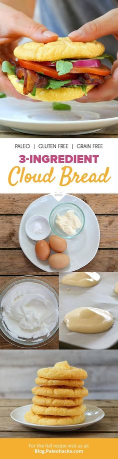 Light and airy, this cloud bread is easy to make and can be topped with anything from sweet jam to savory cashew cheese. Grab your FREE Paleo Breakfast Recipe eBook here: Gluten Free Recipes, Low Carb Recipes, Diet Recipes, Cooking Recipes, Healthy Recipes, Bread Recipes, Pork Recipes, Hamburger Recipes, Potato Recipes