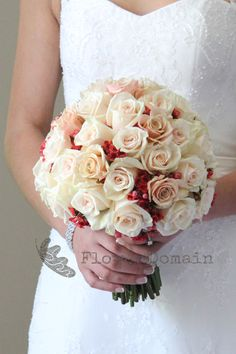 Champagne Roses Wedding Bouquet