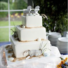 Nautical Wedding with starfish & a beach cake!