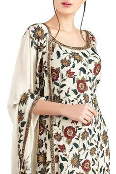 Shop Nakul Sen - Off white chiffon embroidered palazzo set Latest Collection Available at Aza Fashions Churidar Designs, Kurta Designs Women, Kurti Neck Designs, Dress Neck Designs, Kurti Designs Party Wear, Blouse Designs, Simple Pakistani Dresses, Pakistani Dress Design, Pakistani Outfits