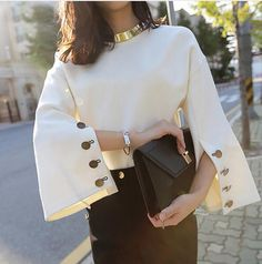 [CHICEVER] 2017 Spring Flare Sleeve Split O-neck Leather Pullovers Lady Women Sweater New Fashion Clothing
