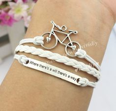 Antique silver Bicycle bracelet Where there is a will by vividiy, $2.99